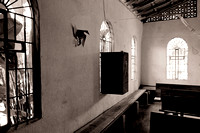 Inside the church we found they faced their speakers out the windows to draw the crowds to Jesus.